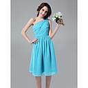 Lanting Bride® Ke kolenům Šifón Šaty pro družičky - A-Linie Jedno rameno Větší velikosti / Malé s Sklady / Boční řasení