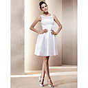 Lanting A-line/Princess Plus Sizes Wedding Dress - Ivory Short/Mini Scoop Taffeta/Lace