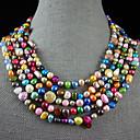 4-10mm rainbow barevný skutečné sladkovodní perlový náhrdelník - 100 palců