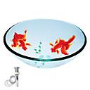 kaljeno staklo okrugli posuda prozirna sudoper s pop-up i montažnim prstenom