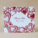 Thank You Card - Red Hearts - Set Of 50