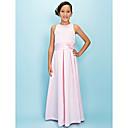 Lanting Bride® Do poda Saten Haljina za malu djeverušu A-kroj Ovalni izrez Prirodni struk s Drapirano / Cvijeće / Traka / vrpca
