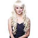 Capless Charming Long Wave Golden Blonde Wig Full Bang