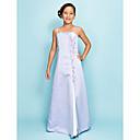 Lanting Bride® Do poda Saten Haljina za malu djeverušu A-kroj / Princeza Tanke naramenice Prirodni struk s Perlice / Prednji izrez