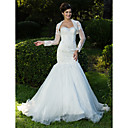 Lanting Fit and Flare Sweetheart Sweep/Brush Train Lace Organza Wedding Dress With A Wrap