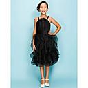 Lanting Bride® Ke kolenům Organza Šaty pro malou družičku A-Linie / Plesové šaty Špagetová ramínka Přirozený sNabírání / Šerpa / Stuha /