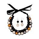 女性のリボン樹脂ビーズチョーカーセット(incl.earrings)