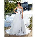 Lanting Bride® Krinolina Sitna / Veći brojevi Vjenčanica - Klasično i svevremensko Srednji šlep Na jedno rame Organza s