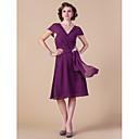 Lanting Bride® A-Linie Větší velikosti / Malé Šaty pro matku nevěsty Ke kolenům Krátký rukáv Šifón - Křišťálová brož / Křížení / Sklady
