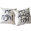 set od 2 romantika par pamuka / lana dekorativne jastuk pokriti