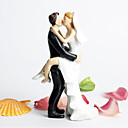 Figurky na svatební dort Nepřizpůsobeno Klasický pár Pryskyřice Párty pro nevěstu / Svatba Bílá / Černá Zahradní motiv / Klasický motiv
