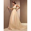Lanting Bride® A-Linie Drobná / Nadměrné velikosti Svatební šaty - Klasické & nadčasové Barevné svatební šaty Dlouhá vlečka Bez ramínek