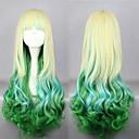 Lolita Wigs Sweet Lolita Zářící barvy Dlouhé Zlatá / Zelená Lolita Paruky 75 CM Cosplay Paruky Patchwork Paruka Pro Dámské