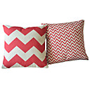 2現代赤幾何コットン/リネンのコンテンポラリー·枕カバーのセット