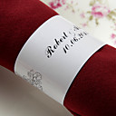 Personalized Paper Napkin Ring - Black Flowers (Set of 50)