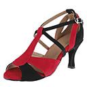 Može se prilagoditi - Ženske - Plesne cipele - Latin / Balska sala - Brušena koža - Prilagođeno Heel - crven