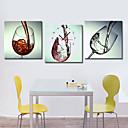 キャンバスの3pcsでモダンなスタイルのワイングラスの壁時計