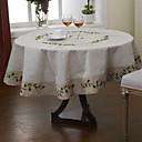 オリーブブランチリネンヴィンテージルック刺繍テーブルクロス
