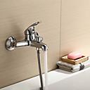 現代風 / 近代の バスタブとシャワー 滝状吐水タイプ with  セラミックバルブ シングルハンドル二つの穴 for  クロム , シャワー水栓 / 浴槽用水栓