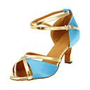 Na zakázku - Dámské - Taneční boty - Latina - Satén - Podpatek na míru - Modrá
