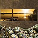 夕暮れでキャンバスアート風景ボート3個セット