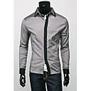 男性用 プレイン カジュアル シャツ,長袖 コットン混 ブラック / ホワイト / グレー