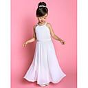 ランティングの花嫁®ライン床の長さのフラワーガールのドレス - シフォン/ストレッチサテンノースリーブの宝石