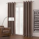 Dva panely Moderní Jednolitý Hnědá Obývací pokoj Polyester Blackout Záclony závěsy