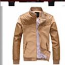Xingke Muška Casual Stand Collar Slim Pamuk Dlaka (Kava)