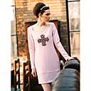 TS Jednostavnost perle križ Long Sleeve plašta haljina