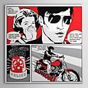 rastegnut platno umjetnost pop art crtani strip motociklizam s vama spreman za objesiti