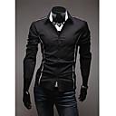 男性用 プレイン カジュアル / オフィス シャツ,長袖 ブラック / ホワイト / グレー