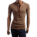LiLuoKe Dva komada Stand Collar kratki rukav T-Shirt (Kava)