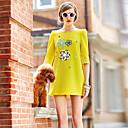 Lishang Ženska Casual Loose Fit Round Collar Mid rukav haljina (žuta)
