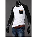男性用 チェック カジュアル Tシャツ,長袖 コットン混,ブラック / ブルー / グレー