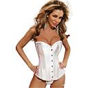 Shamina女性のエレガントなシンプルストラップバックルサテンホワイトコルセットのShapewear