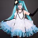 Inspirirana Vocaloid Hatsune Miku Video igra Cosplay nošnje Cosplay Suits / Dresses Kolaž Bijela / Crna / PlavaHaljina / Traka za kosu /