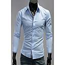 & W Moda Provjerite Pattern Collar Long Sleeve Shirt (Light Blue)
