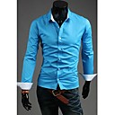 U2M2 Muška Zanimanje Blue Rever Vrat Buckle Casual košulja