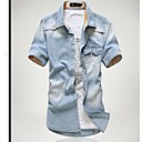 Pánské Brand Water Wash Denim Short Sleeve Shirt