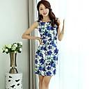 Ženska okrugli vrat mini haljina, šifona plavo print / rad