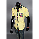 Lidové Aowofs Pánské Barevné Pocket Shirt 8838 žlutá