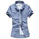 Pánská klopu Pure Color Povlečení prodyšné košili s krátkým rukávem Plus-Size Casual košile