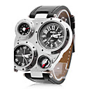 Oulm Pánské Vojenské hodinky Náramkové hodinky Křemenný Japonské Quartz Hodinky s dvojitým časem PU Kapela Černá Bílá Černá