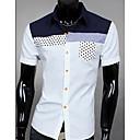 男性用 カラーブロック カジュアル シャツ,半袖 コットン ブルー / グリーン / ホワイト
