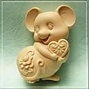 マウス形焼く金型、W9.5cm X L7.1cm X H3.7cm