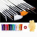 28PCS malba akrylem Nail Art Suit (12 Color Nail Art barvy 15 ks Nail Art Brush 1 Random Color Palette)
