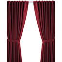 twopages®(背面パネル1枚タップトップ)現代のミニマリストのバーガンディ固体省エネカーテン
