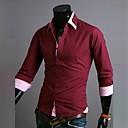 Zian® Men's Shirt Collar Fashion Stripes Contrast Color Casual Long Sleeve Shirt O