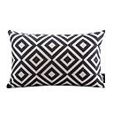 黒と白のチェック柄のコットン/リネン装飾枕カバー